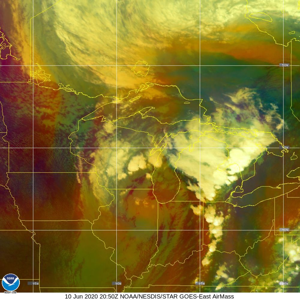 Air Mass - RGB composite based on the data from IR and WV - 10 Jun 2020 - 2050 UTC