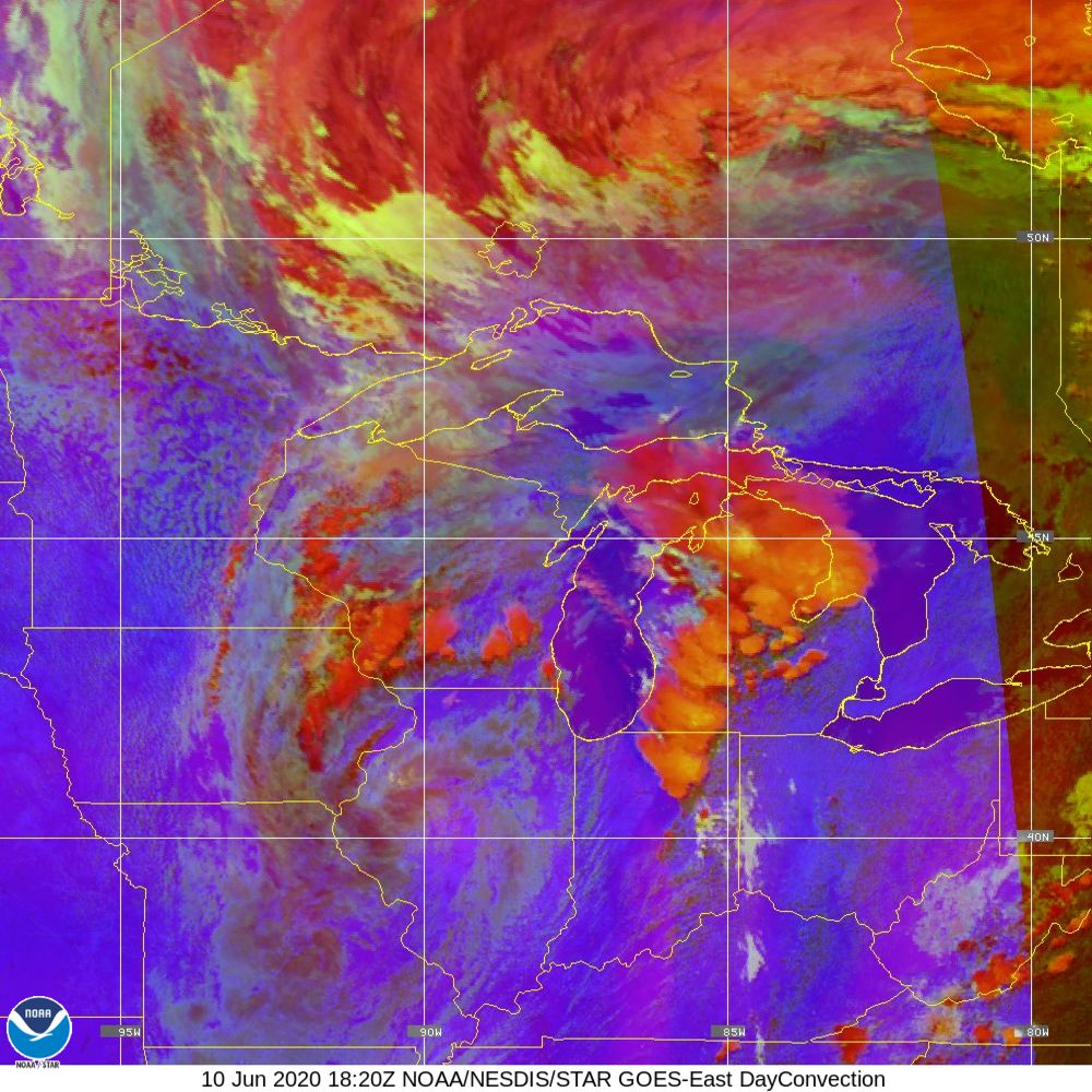Day Convection - RGB used to identify areas of rapid intensification - 10 Jun 2020 - 1820 UTC