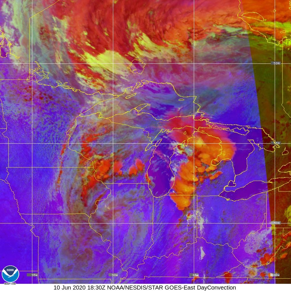 Day Convection - RGB used to identify areas of rapid intensification - 10 Jun 2020 - 1830 UTC