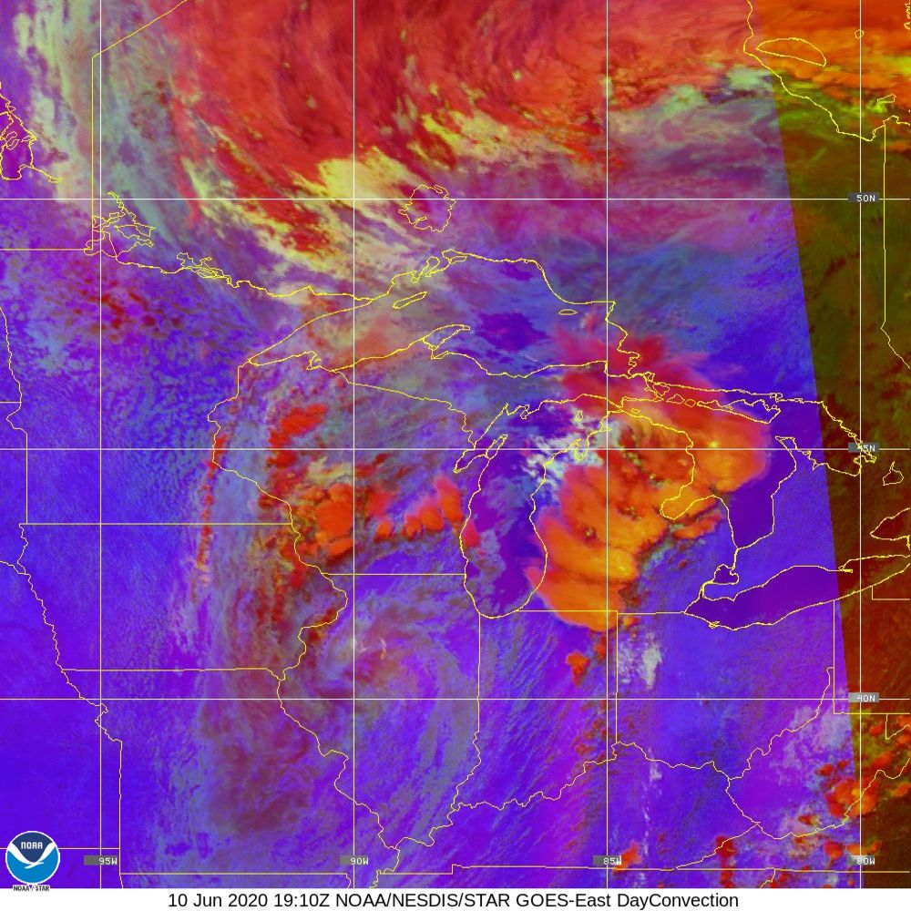 Day Convection - RGB used to identify areas of rapid intensification - 10 Jun 2020 - 1910 UTC