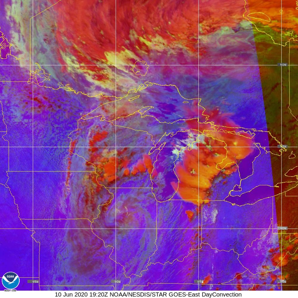 Day Convection - RGB used to identify areas of rapid intensification - 10 Jun 2020 - 1920 UTC