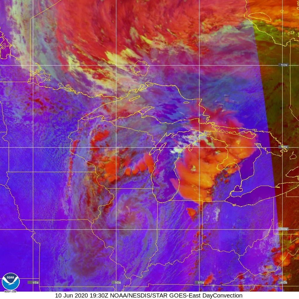 Day Convection - RGB used to identify areas of rapid intensification - 10 Jun 2020 - 1930 UTC