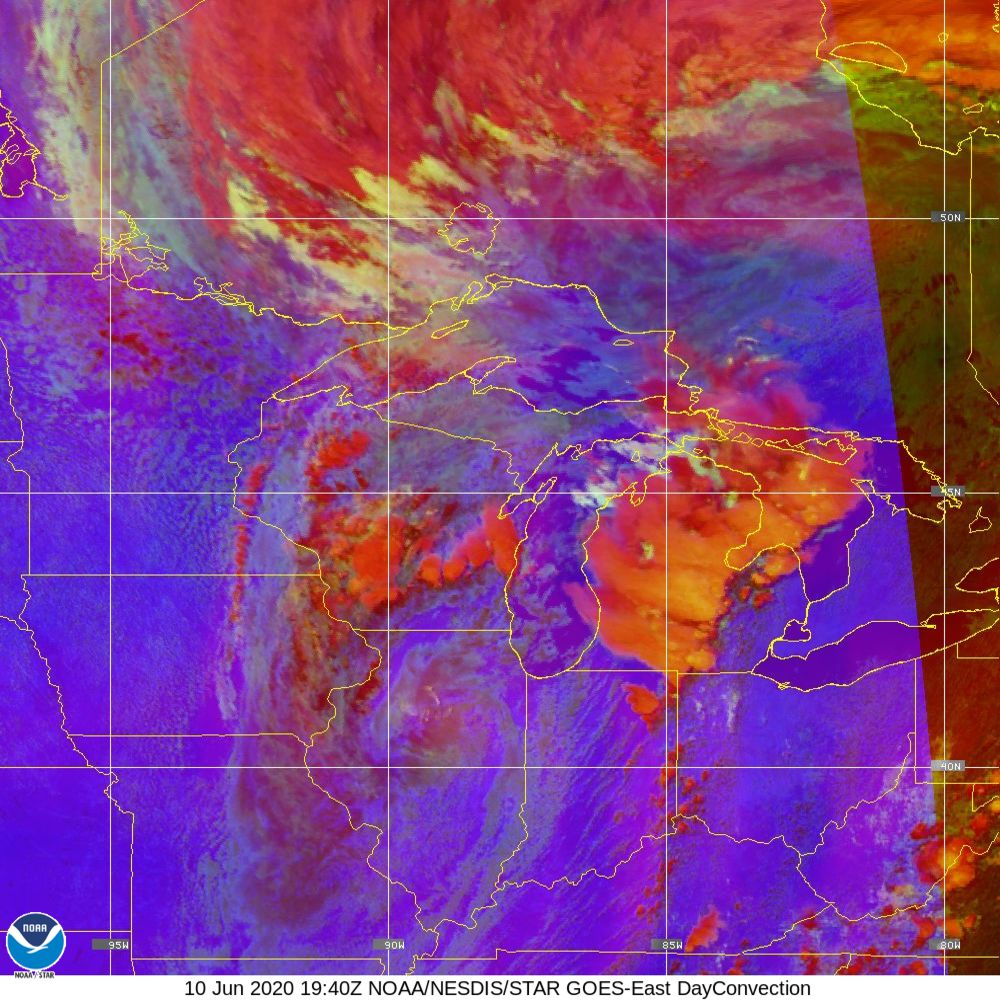 Day Convection - RGB used to identify areas of rapid intensification - 10 Jun 2020 - 1940 UTC