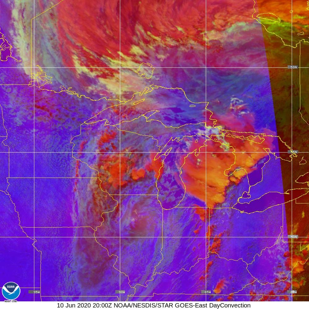 Day Convection - RGB used to identify areas of rapid intensification - 10 Jun 2020 - 2000 UTC