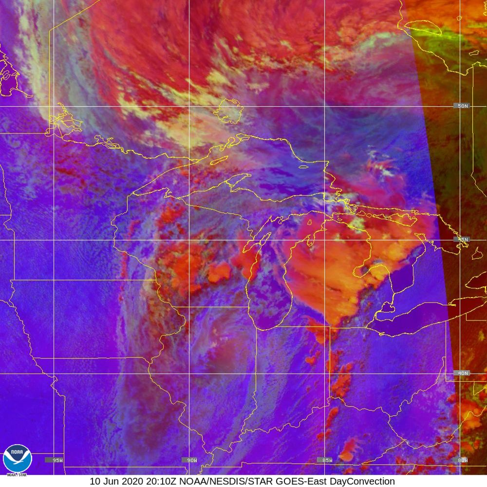 Day Convection - RGB used to identify areas of rapid intensification - 10 Jun 2020 - 2010 UTC