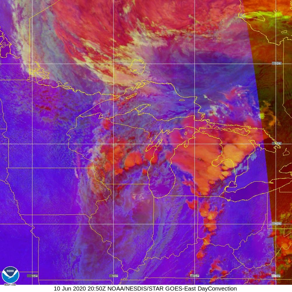 Day Convection - RGB used to identify areas of rapid intensification - 10 Jun 2020 - 2050 UTC