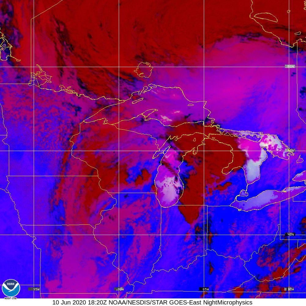 Nighttime Microphysics - RGB used to distinguish clouds from fog - 10 Jun 2020 - 1820 UTC