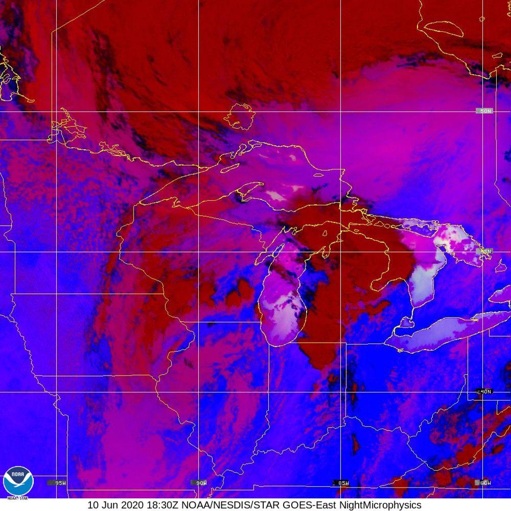 Nighttime Microphysics - RGB used to distinguish clouds from fog - 10 Jun 2020 - 1830 UTC
