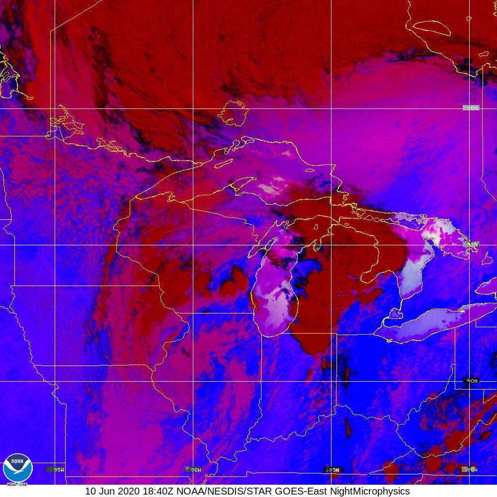 Nighttime Microphysics - RGB used to distinguish clouds from fog - 10 Jun 2020 - 1840 UTC