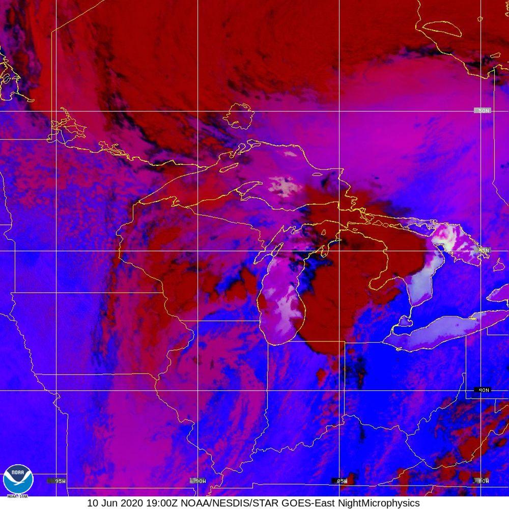 Nighttime Microphysics - RGB used to distinguish clouds from fog - 10 Jun 2020 - 1900 UTC