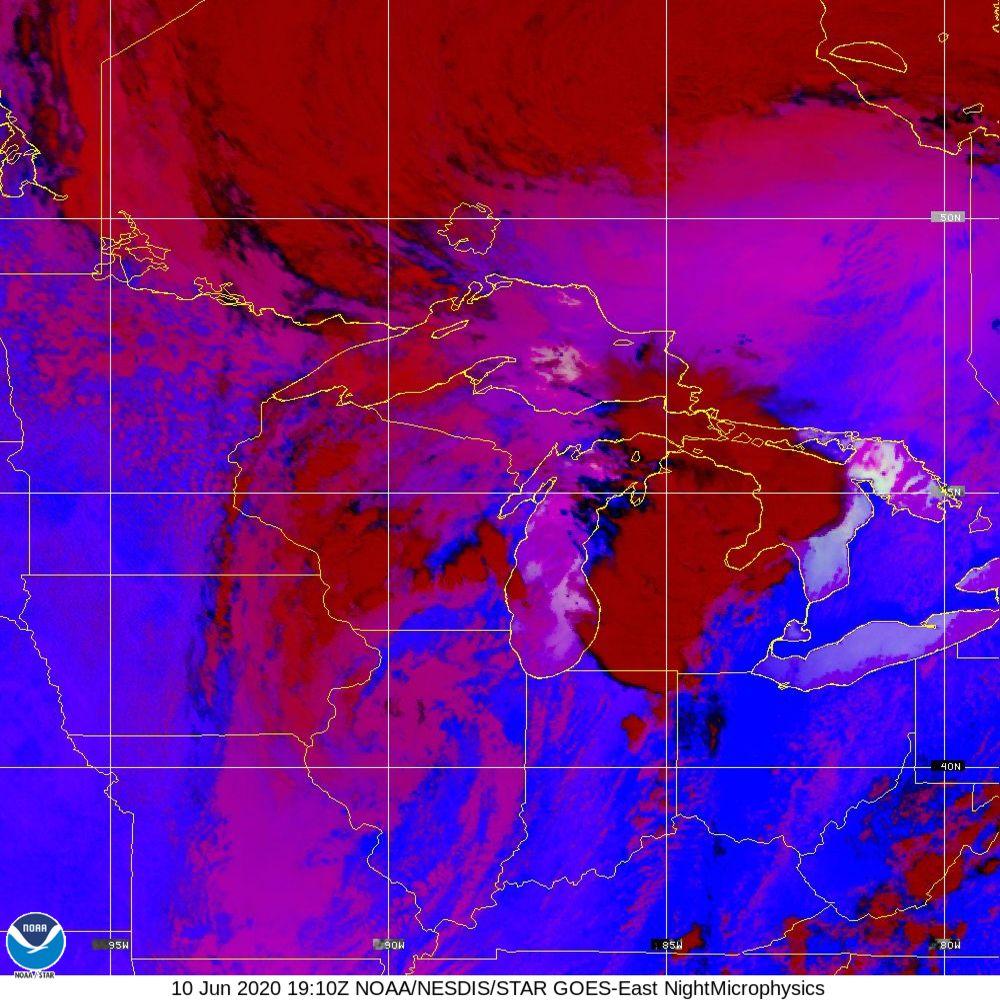 Nighttime Microphysics - RGB used to distinguish clouds from fog - 10 Jun 2020 - 1910 UTC