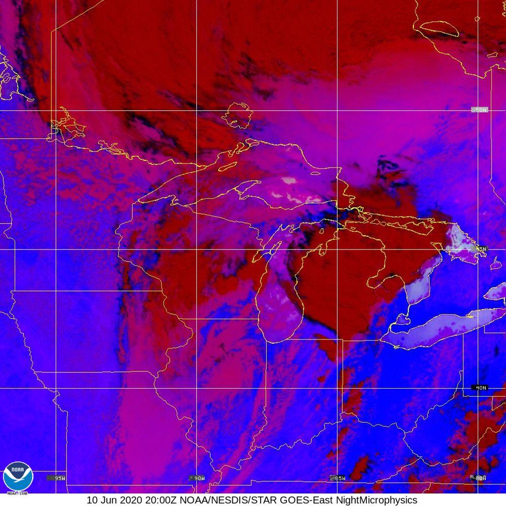 Nighttime Microphysics - RGB used to distinguish clouds from fog - 10 Jun 2020 - 2000 UTC