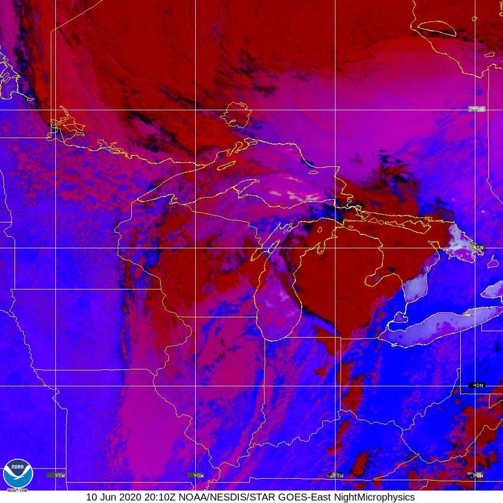 Nighttime Microphysics - RGB used to distinguish clouds from fog - 10 Jun 2020 - 2010 UTC