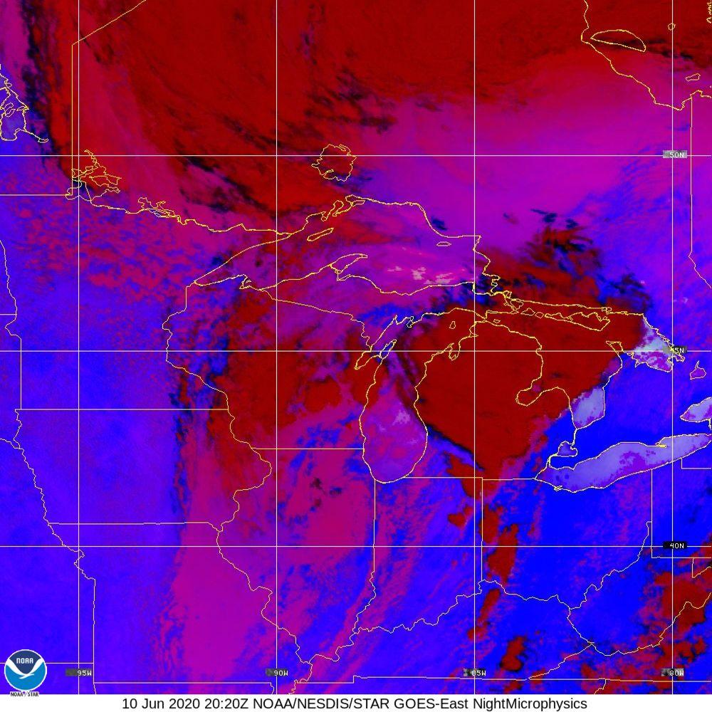 Nighttime Microphysics - RGB used to distinguish clouds from fog - 10 Jun 2020 - 2020 UTC