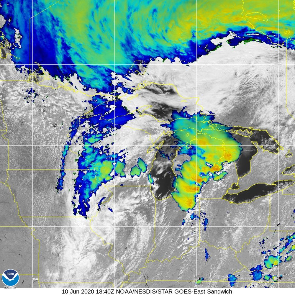 Sandwich - Multi-spectral blend combines IR band 13 with visual band 3 - 10 Jun 2020 - 1840 UTC