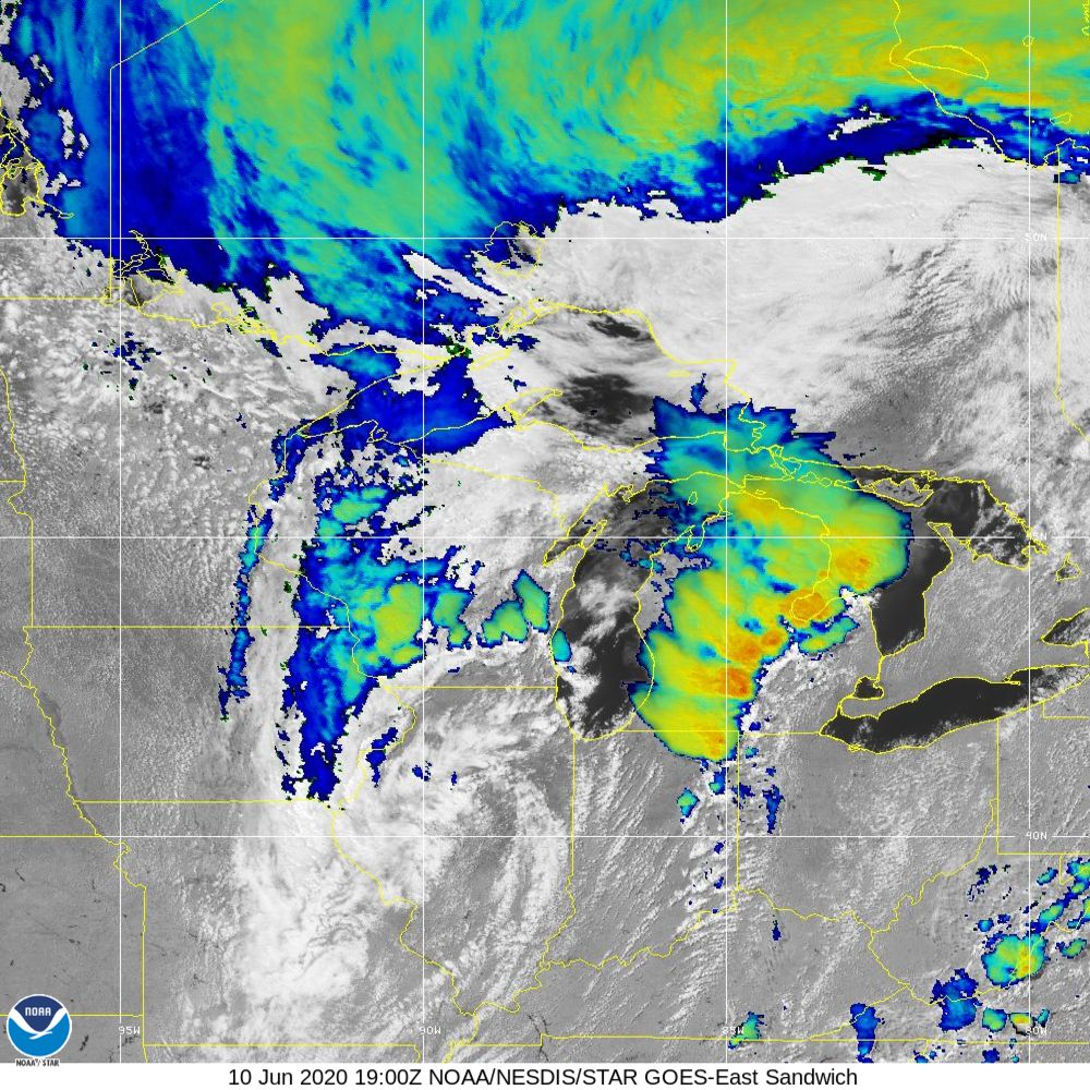Sandwich - Multi-spectral blend combines IR band 13 with visual band 3 - 10 Jun 2020 - 1900 UTC