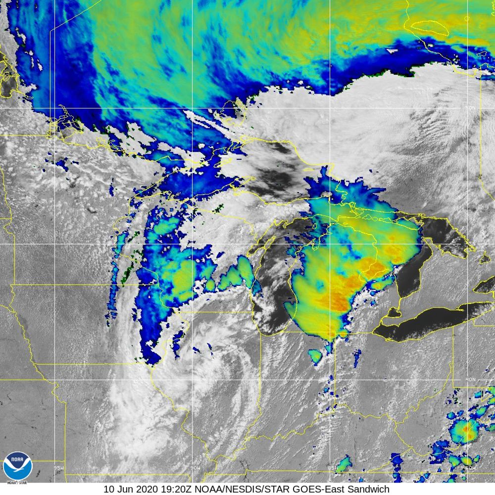 Sandwich - Multi-spectral blend combines IR band 13 with visual band 3 - 10 Jun 2020 - 1920 UTC