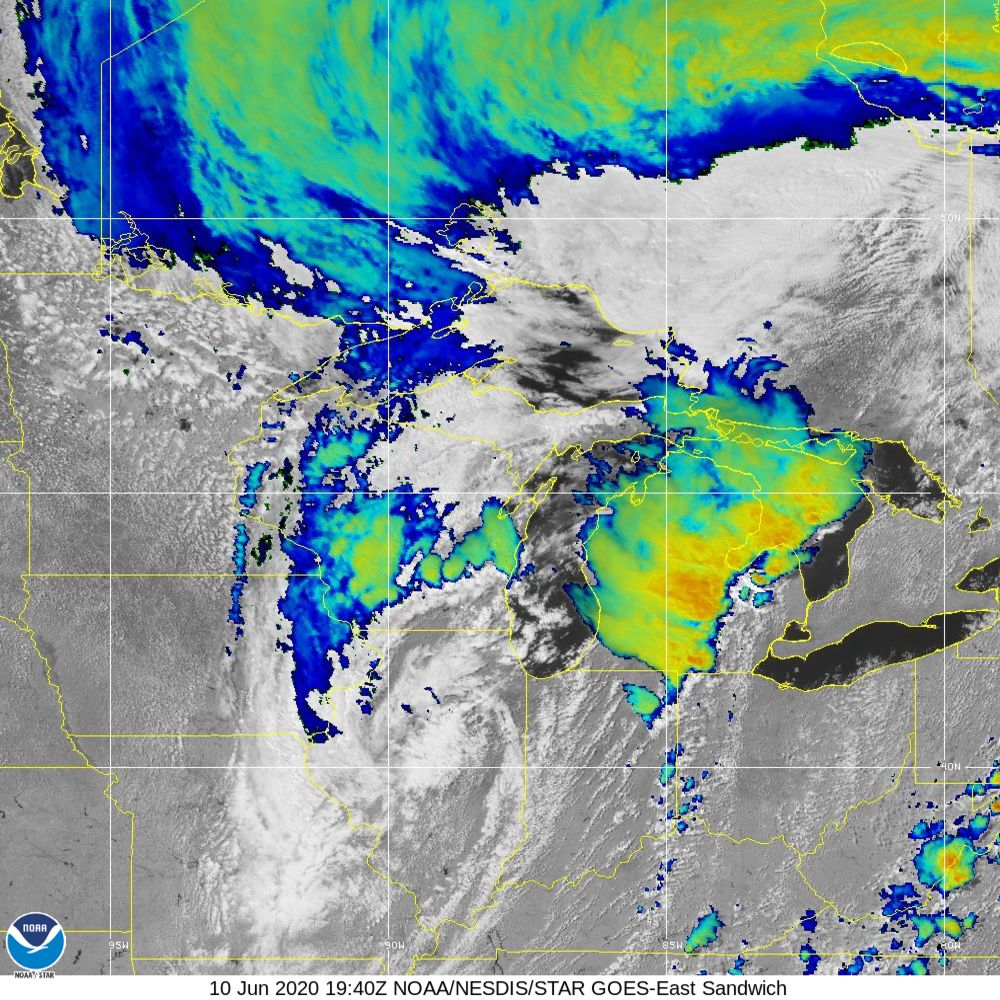 Sandwich - Multi-spectral blend combines IR band 13 with visual band 3 - 10 Jun 2020 - 1940 UTC