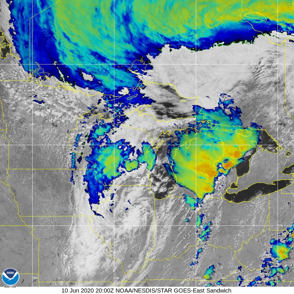 Sandwich - Multi-spectral blend combines IR band 13 with visual band 3 - 10 Jun 2020 - 2000 UTC