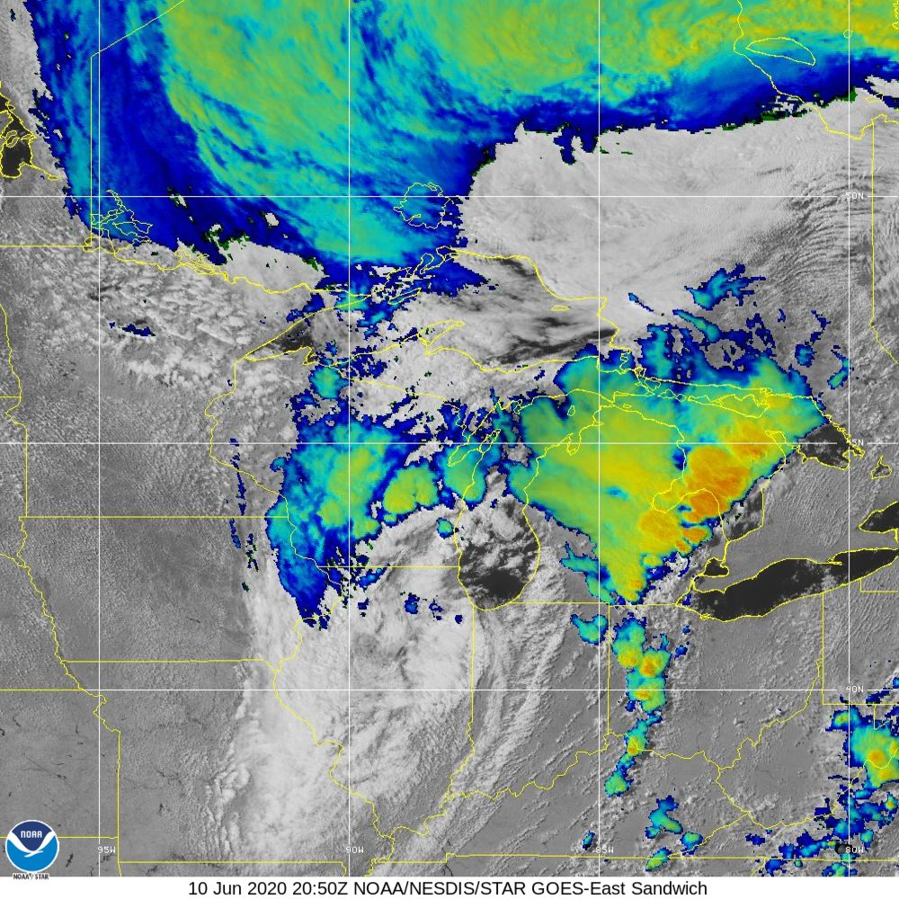 Sandwich - Multi-spectral blend combines IR band 13 with visual band 3 - 10 Jun 2020 - 2050 UTC
