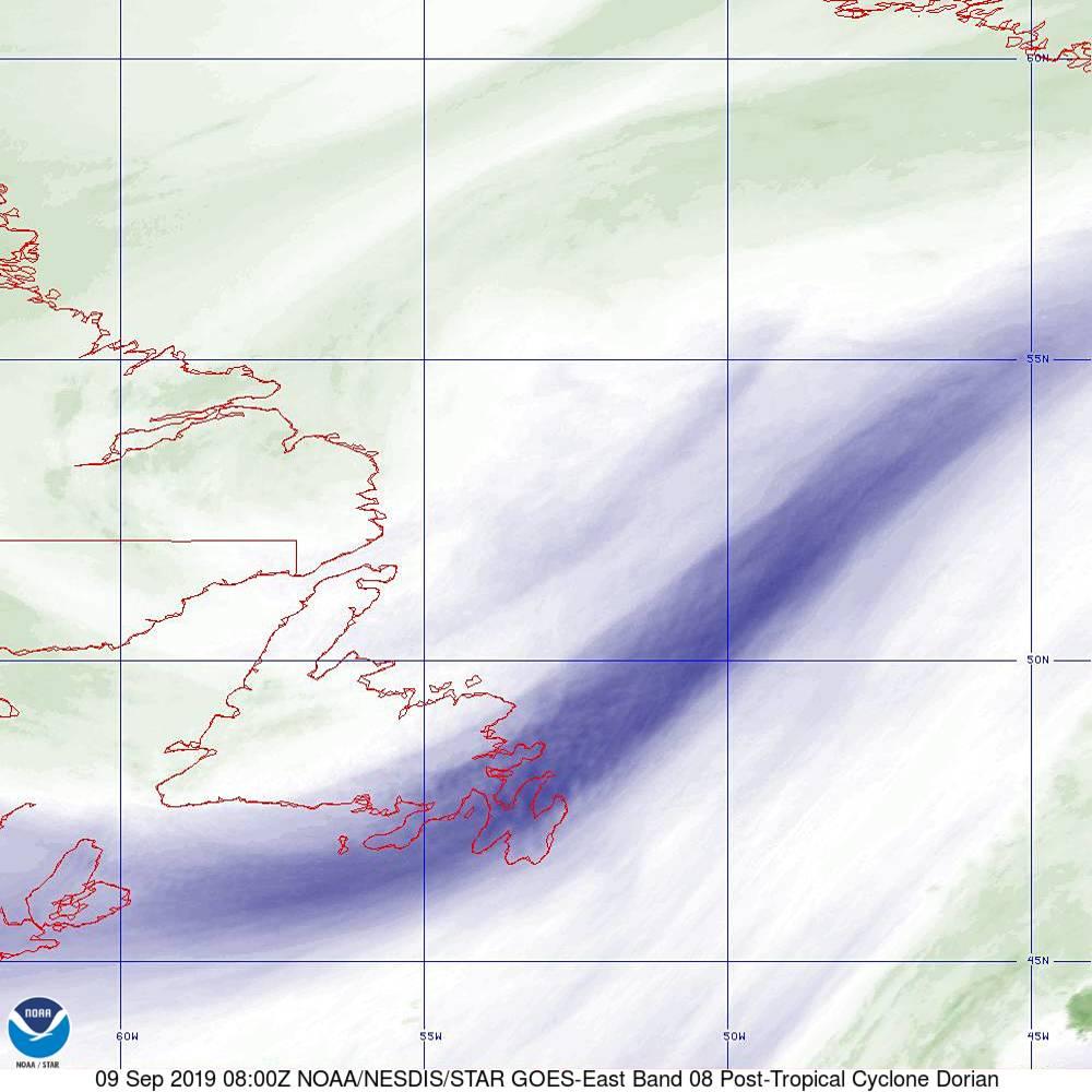 Band 8 - 6.2 µm - Upper-Level Water Vapor - IR  - 09 Sep 2019 - 0800 UTC