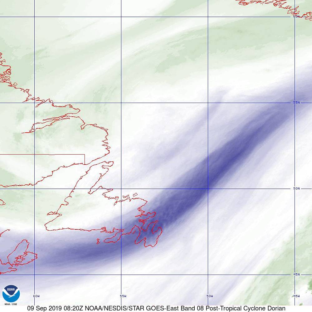 Band 8 - 6.2 µm - Upper-Level Water Vapor - IR  - 09 Sep 2019 - 0820 UTC