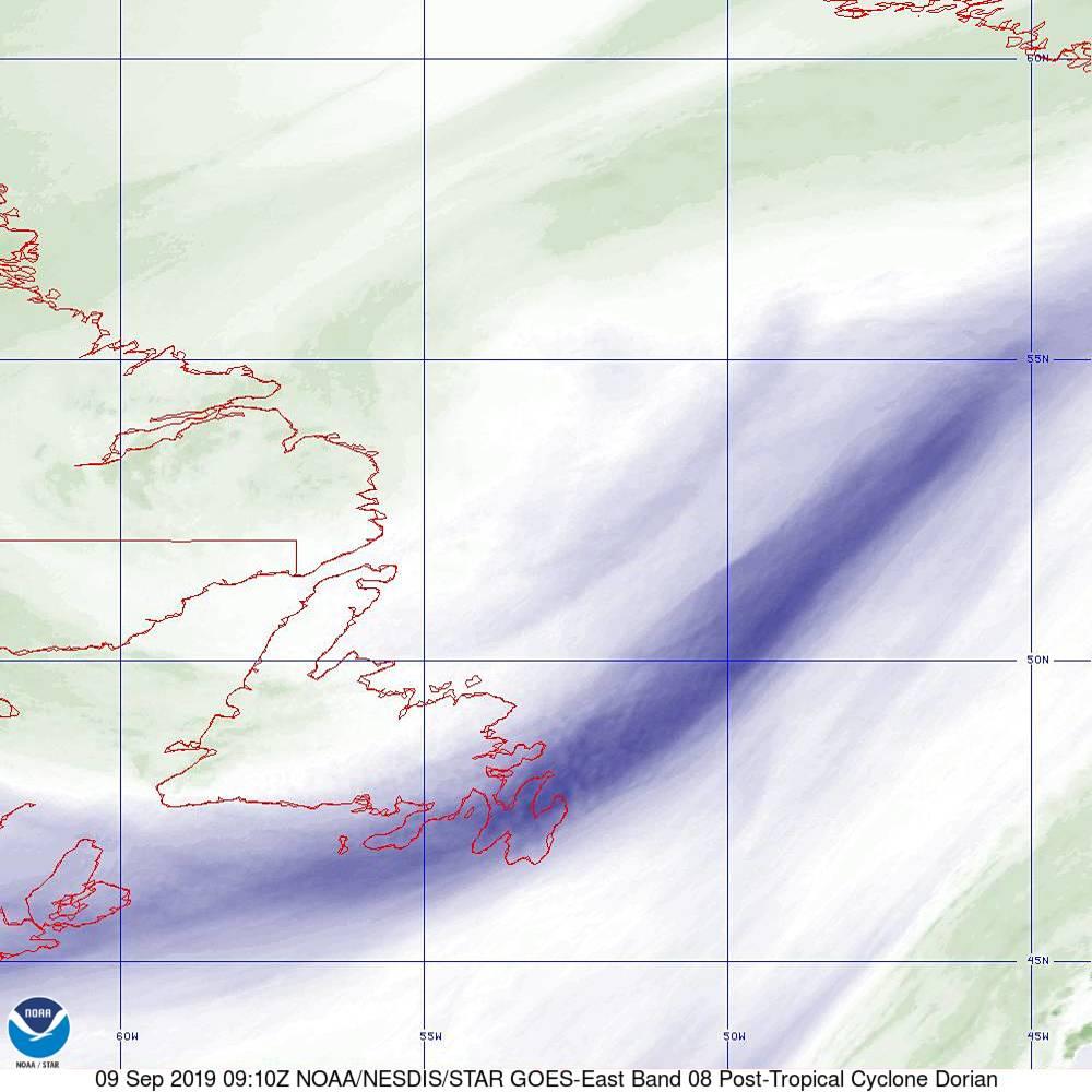 Band 8 - 6.2 µm - Upper-Level Water Vapor - IR  - 09 Sep 2019 - 0910 UTC