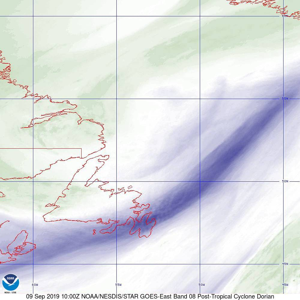 Band 8 - 6.2 µm - Upper-Level Water Vapor - IR  - 09 Sep 2019 - 1000 UTC