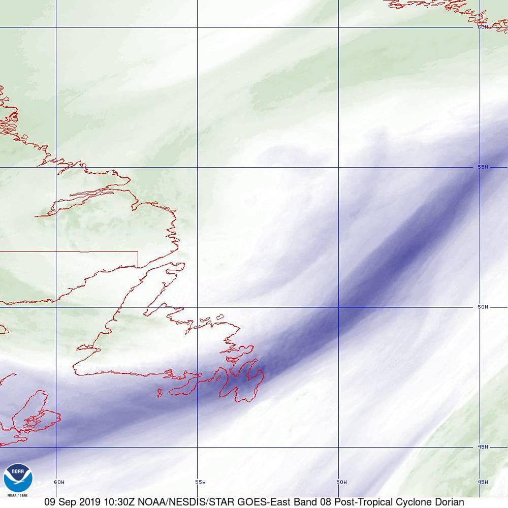 Band 8 - 6.2 µm - Upper-Level Water Vapor - IR  - 09 Sep 2019 - 1030 UTC