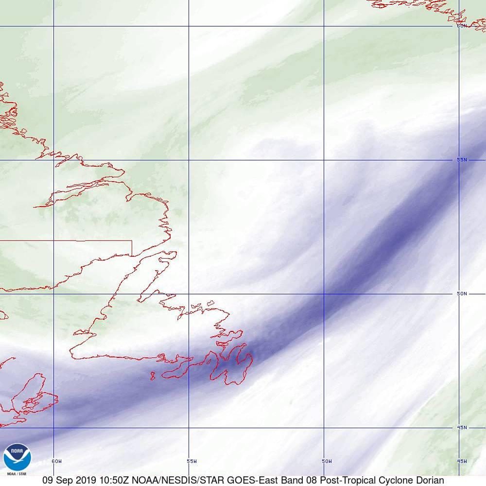 Band 8 - 6.2 µm - Upper-Level Water Vapor - IR  - 09 Sep 2019 - 1050 UTC