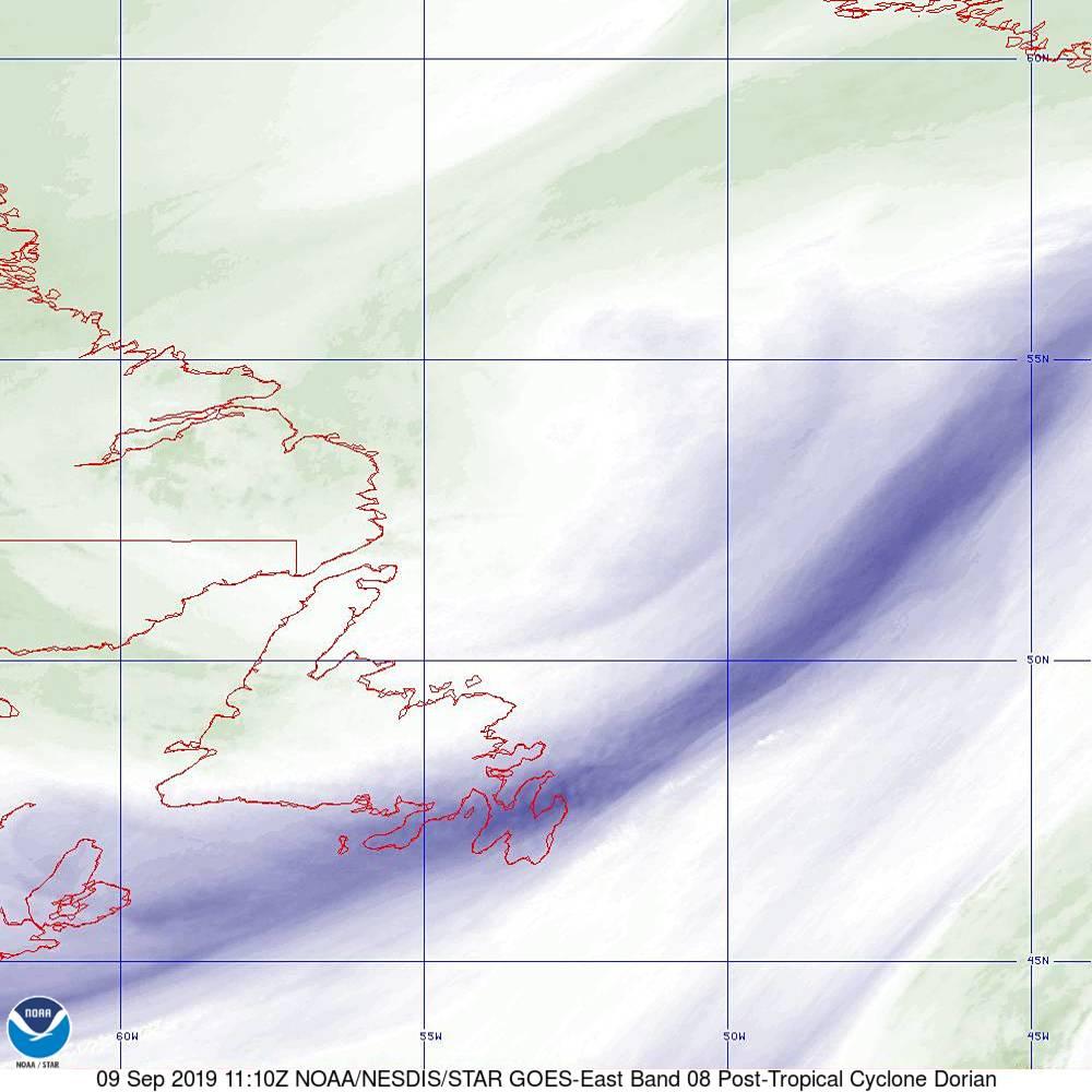 Band 8 - 6.2 µm - Upper-Level Water Vapor - IR  - 09 Sep 2019 - 1110 UTC