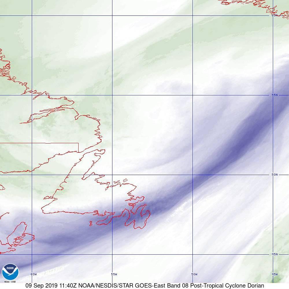 Band 8 - 6.2 µm - Upper-Level Water Vapor - IR  - 09 Sep 2019 - 1140 UTC