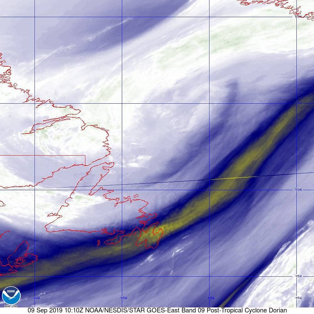 Band 9 - 6.9 µm - Mid-Level Water Vapor - IR  - 09 Sep 2019 - 1010 UTC