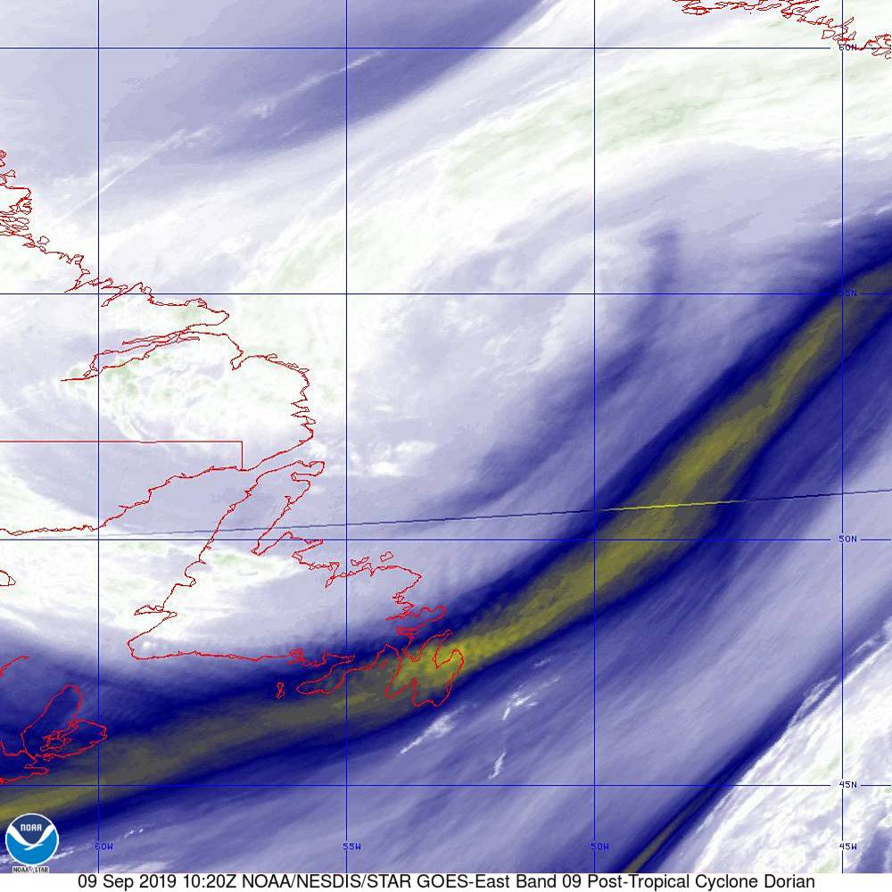 Band 9 - 6.9 µm - Mid-Level Water Vapor - IR  - 09 Sep 2019 - 1020 UTC