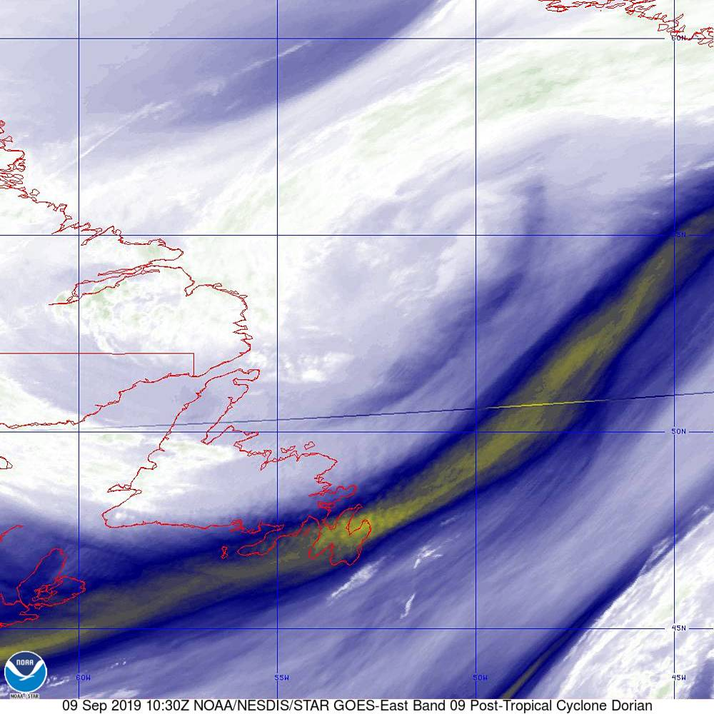 Band 9 - 6.9 µm - Mid-Level Water Vapor - IR  - 09 Sep 2019 - 1030 UTC