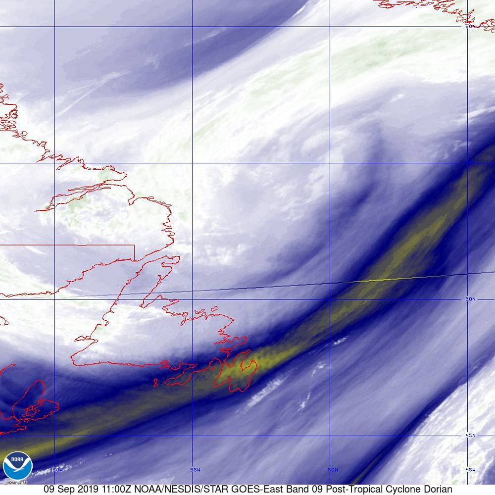 Band 9 - 6.9 µm - Mid-Level Water Vapor - IR  - 09 Sep 2019 - 1100 UTC