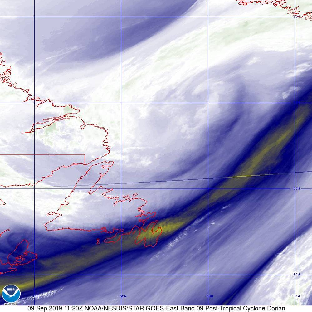 Band 9 - 6.9 µm - Mid-Level Water Vapor - IR  - 09 Sep 2019 - 1120 UTC