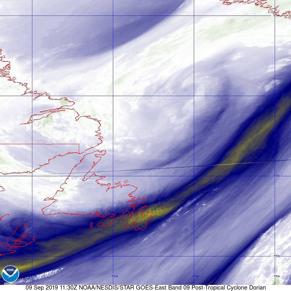 Band 9 - 6.9 µm - Mid-Level Water Vapor - IR  - 09 Sep 2019 - 1130 UTC
