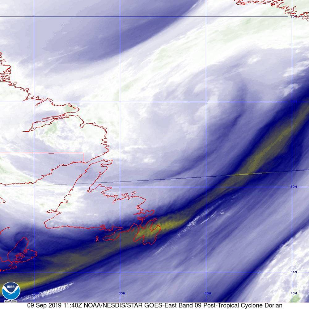 Band 9 - 6.9 µm - Mid-Level Water Vapor - IR  - 09 Sep 2019 - 1140 UTC