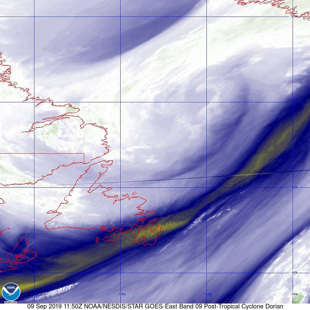 Band 9 - 6.9 µm - Mid-Level Water Vapor - IR  - 09 Sep 2019 - 1150 UTC