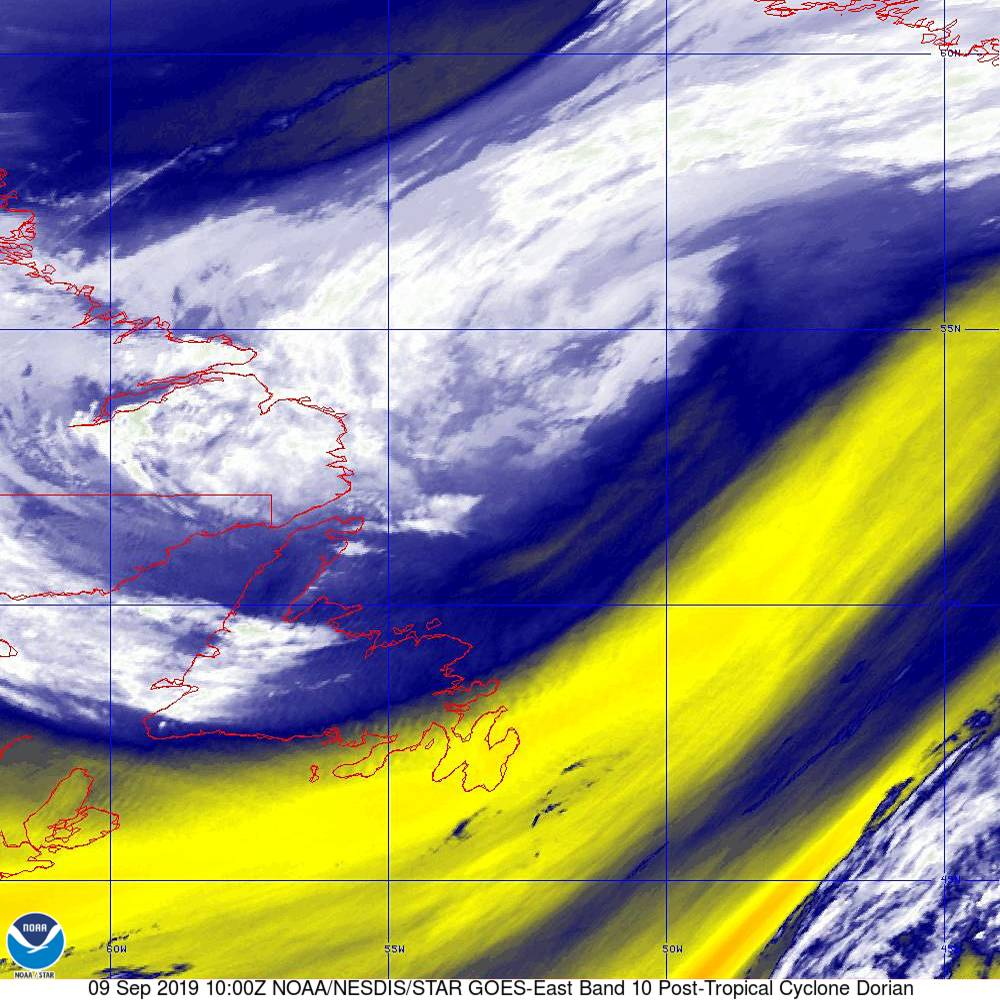 Band 10 - 7.3 µm - Lower-level Water Vapor - IR - 09 Sep 2019 - 1000 UTC