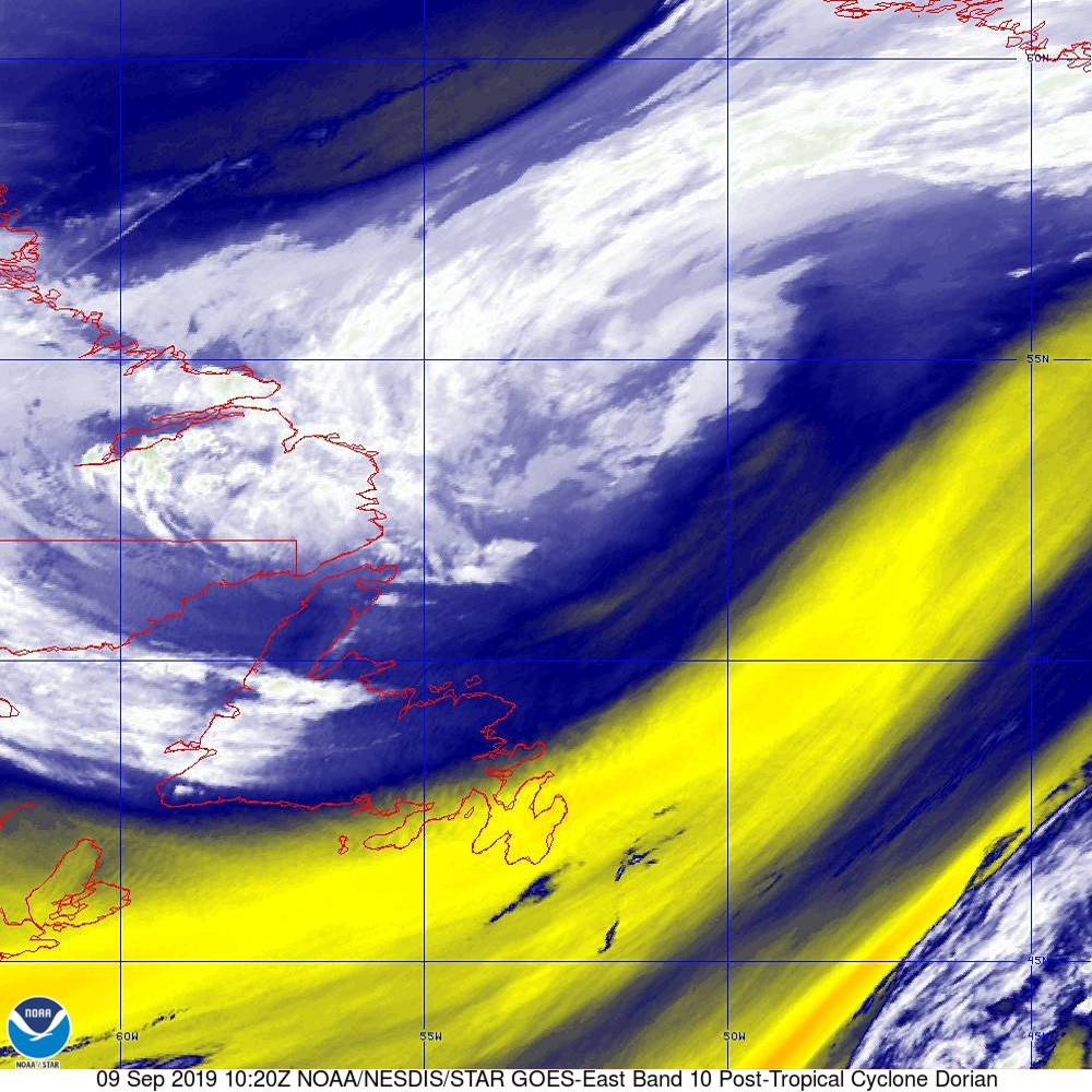Band 10 - 7.3 µm - Lower-level Water Vapor - IR - 09 Sep 2019 - 1020 UTC