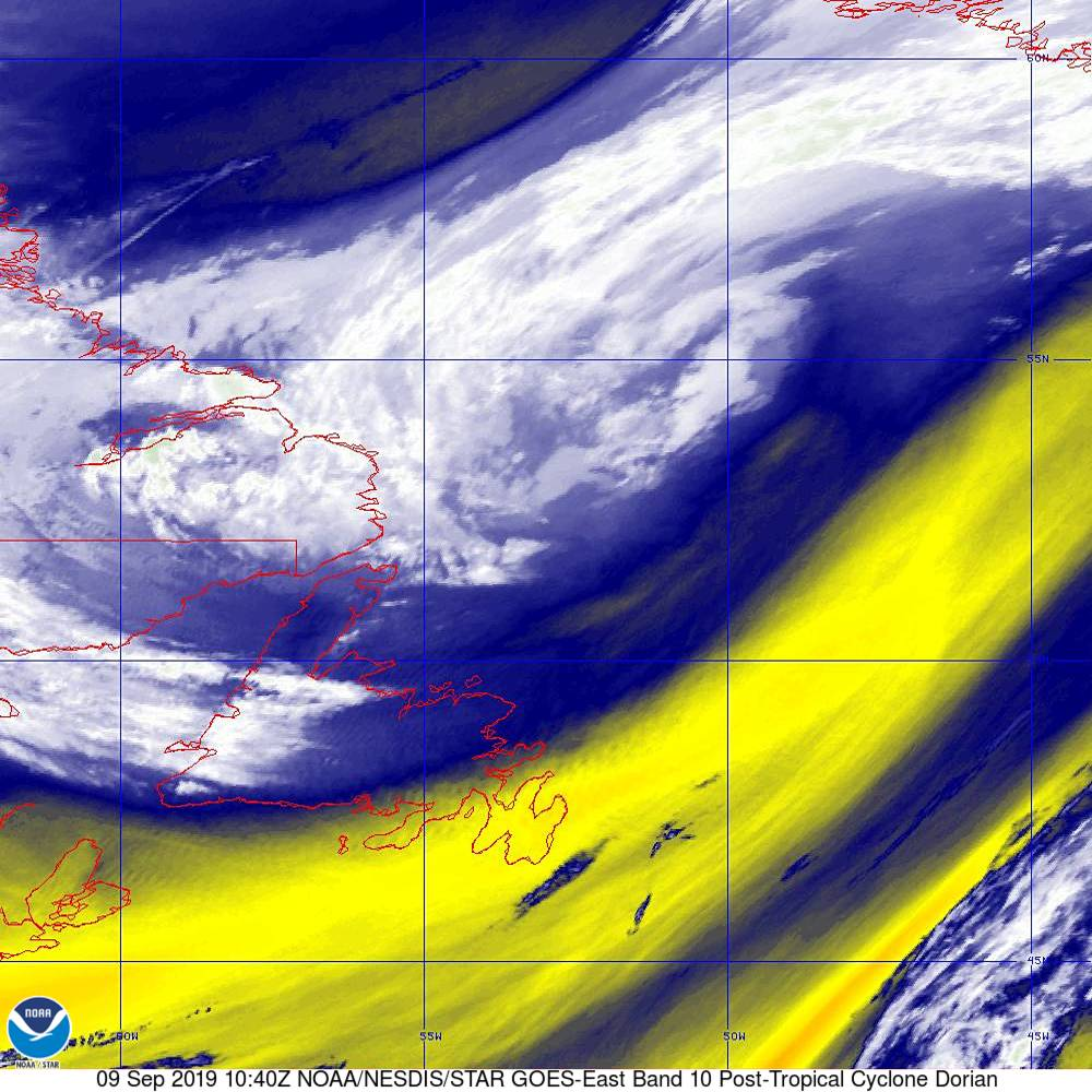 Band 10 - 7.3 µm - Lower-level Water Vapor - IR - 09 Sep 2019 - 1040 UTC