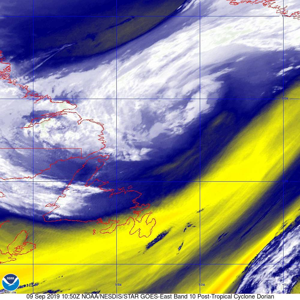 Band 10 - 7.3 µm - Lower-level Water Vapor - IR - 09 Sep 2019 - 1050 UTC