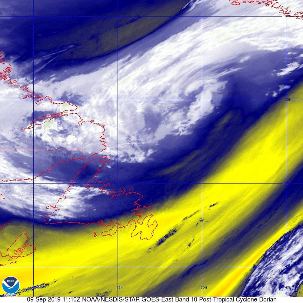Band 10 - 7.3 µm - Lower-level Water Vapor - IR - 09 Sep 2019 - 1110 UTC