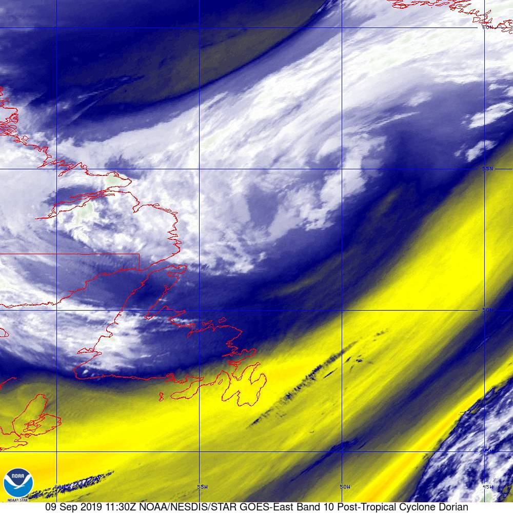 Band 10 - 7.3 µm - Lower-level Water Vapor - IR - 09 Sep 2019 - 1130 UTC