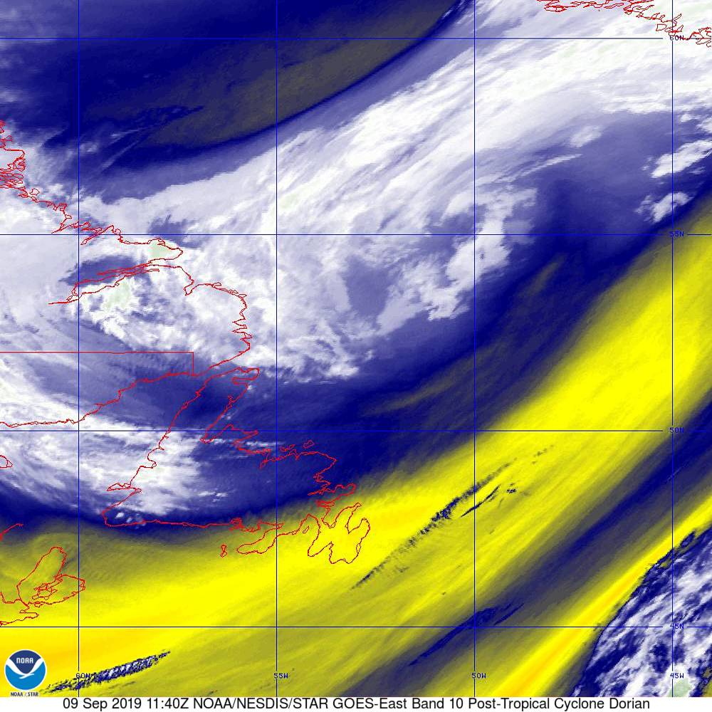 Band 10 - 7.3 µm - Lower-level Water Vapor - IR - 09 Sep 2019 - 1140 UTC