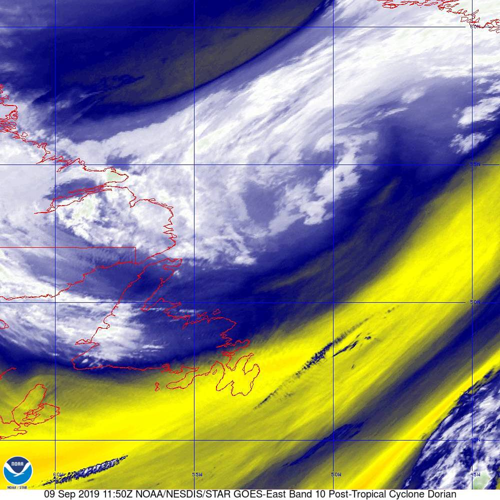 Band 10 - 7.3 µm - Lower-level Water Vapor - IR - 09 Sep 2019 - 1150 UTC