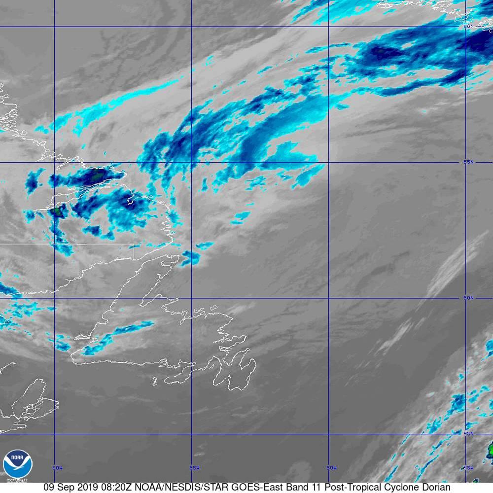 Band 11 - 8.4 µm - Cloud Top - IR - 09 Sep 2019 - 0820 UTC