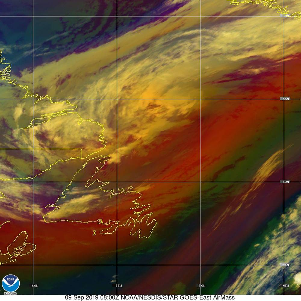 Air Mass - RGB composite based on the data from IR and WV - 09 Sep 2019 - 0800 UTC